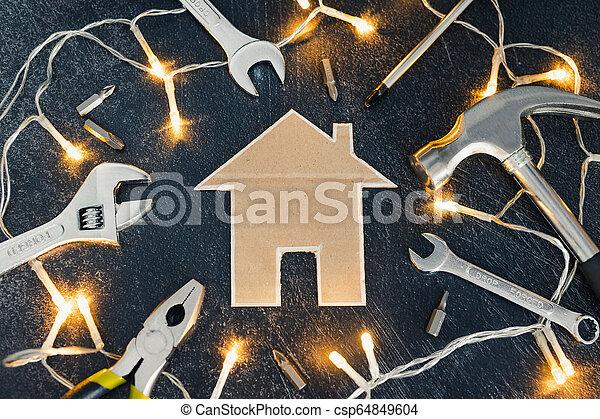 peu, ensemble, maison, bricolage, maison, carton, outils, rénovation - csp64849604