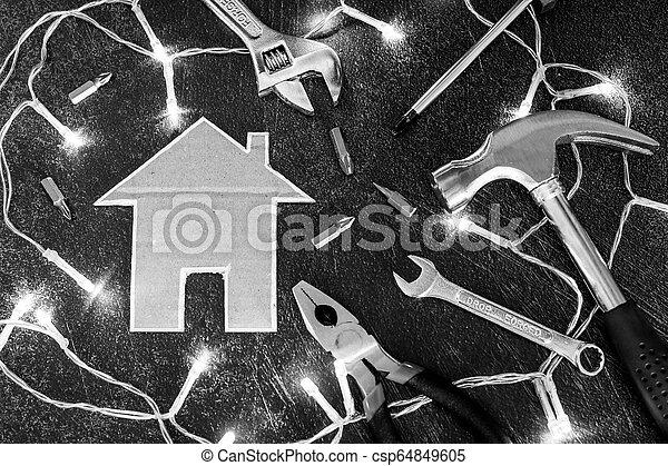 peu, ensemble, maison, bricolage, maison, carton, outils, rénovation - csp64849605