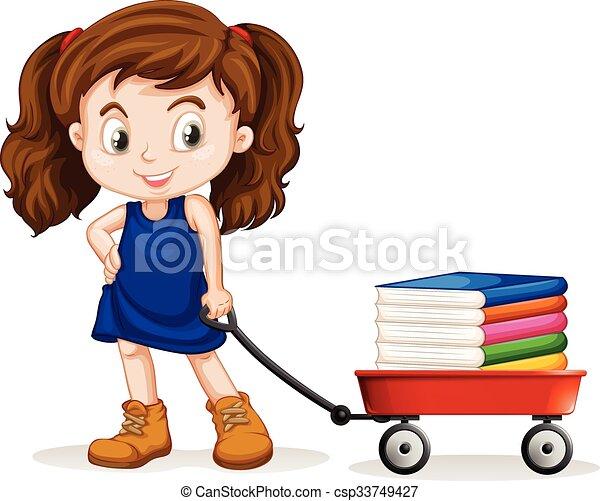 peu, entiers, charrette, livres, traction, girl - csp33749427