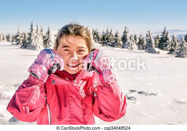 peu, extérieur, hiver, neige, portrait, girl, heureux - csp34048524