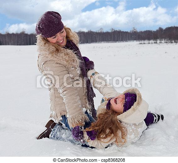 peu, femme, neige, amusement, girl, avoir - csp8368208