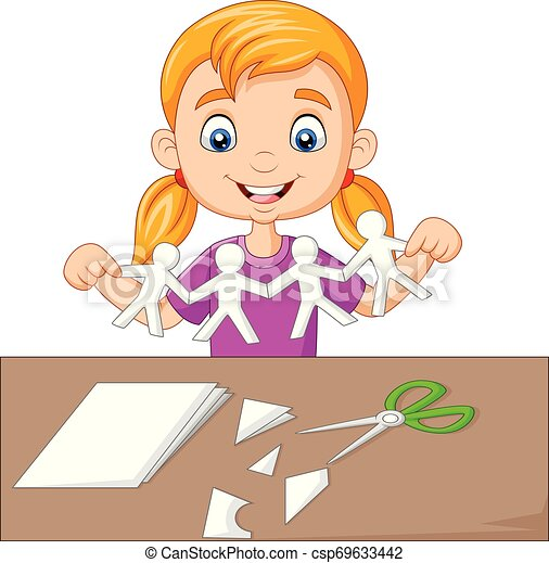peu, gens, fabrication papier, girl, dessin animé - csp69633442