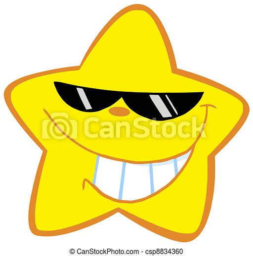 peu, heureux, lunettes soleil, étoile - csp8834360