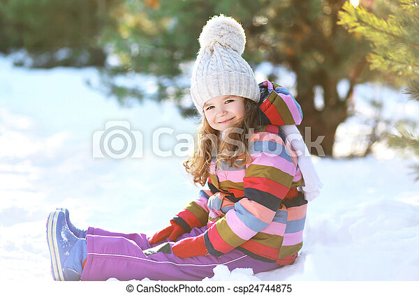 peu, hiver, séance, neige, avoir, enfant, amusement, jour - csp24744875