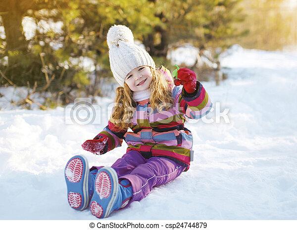 peu, hiver, séance, neige, enfant, amusement, avoir - csp24744879