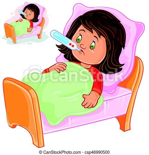 clipart vecteur de peu lit malade mensonges vecteur thermometer girl csp46990500. Black Bedroom Furniture Sets. Home Design Ideas