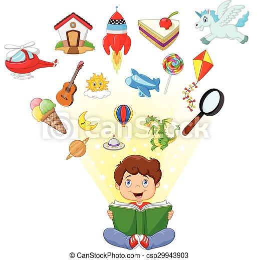 peu, livre, lecture garçon, dessin animé - csp29943903