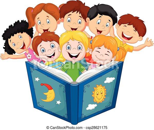 peu, livre, lecture, gosse, dessin animé - csp28621175