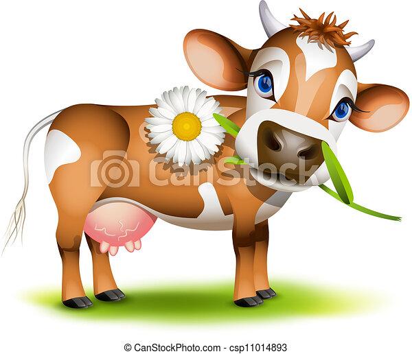 peu, manger, vache jersey, pâquerette - csp11014893