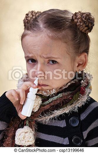 peu, nasale, grippe, pulvérisation, utilisation, girl - csp13199646