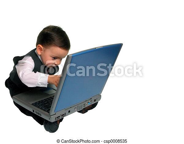 peu, ordinateur portable, homme - csp0008535