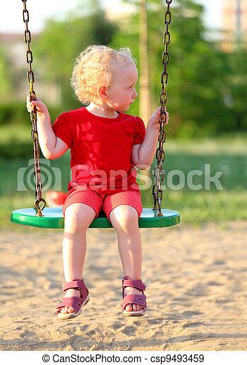 peu, parc, girl, balançoire - csp9493459