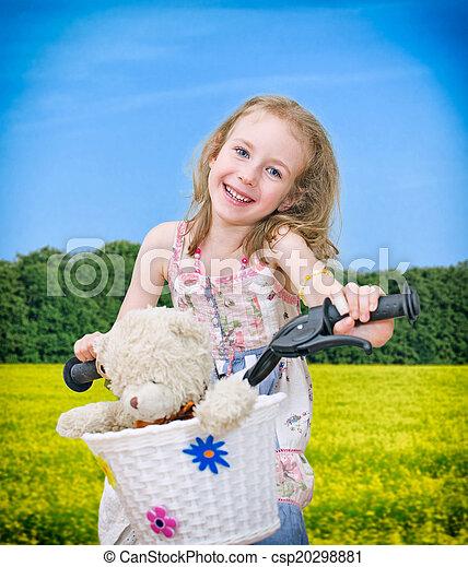 peu, park., vélo, girl, heureux - csp20298881