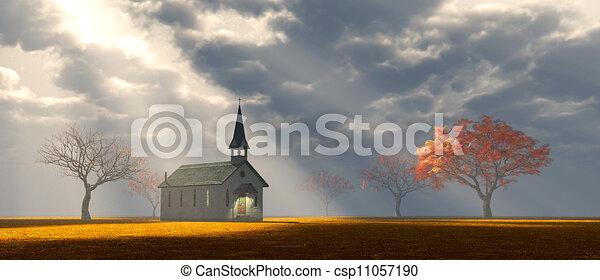 peu, prairie, église - csp11057190