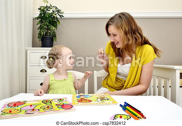 peu, puzzle, enfants, maman, girl, jouer - csp7832412