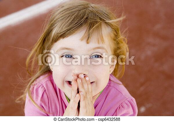 peu, rire, sourire, blonds, girl, excité heureux - csp6432588