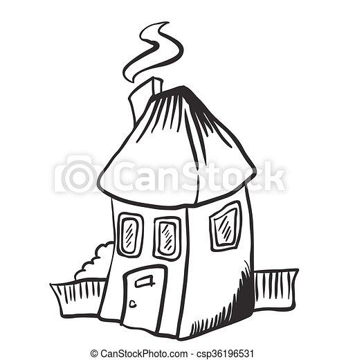 Peu Simple Maison Isolé Noir Blanc