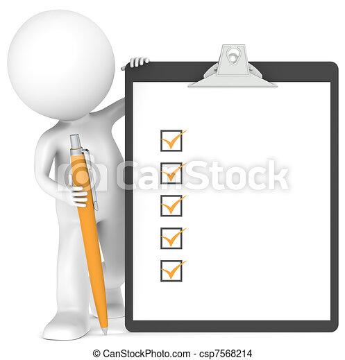 peu, tenue, caractère, stylo, presse-papiers, humain, 3d - csp7568214