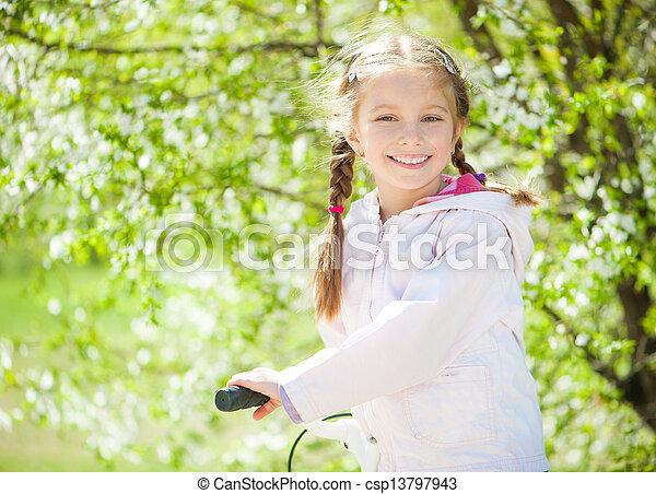 peu, vélo, girl, elle - csp13797943