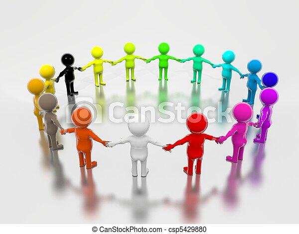 peuples, groupe, 3d, multicolore - csp5429880