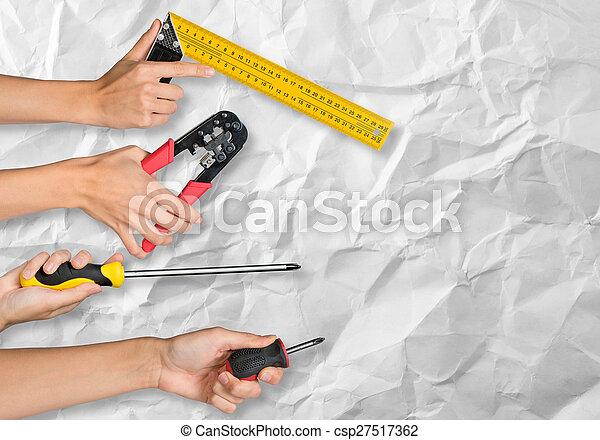 peuples, outils, tenant mains - csp27517362