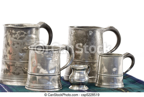 Pewter drinking mugs with measure - csp5228519