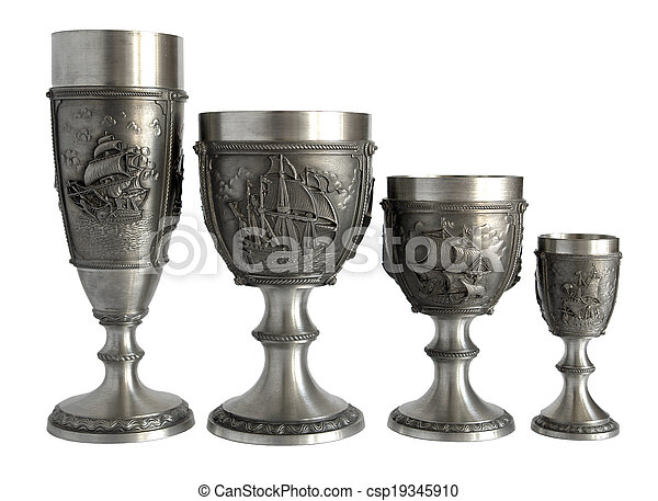 Pewter Wine Goblets Four Silver Wine Glasses And Goblets With