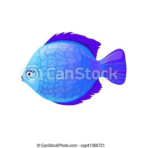 Pez coral azul redondo al estilo de dibujos animados, ilustración vectorial - csp41366721