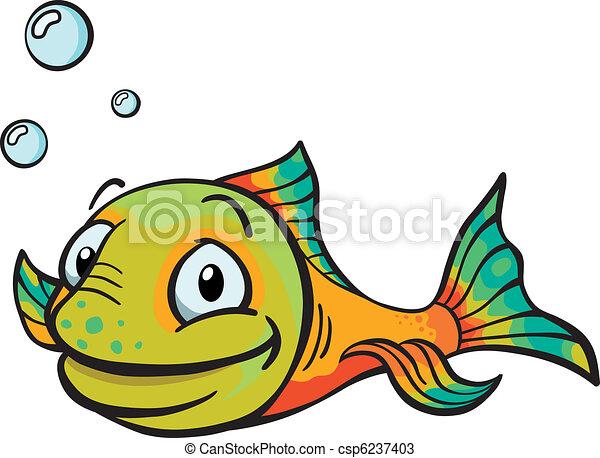 pez, caricatura, feliz - csp6237403
