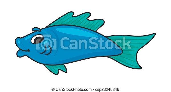 La ilustración de un lindo pez de dibujos animados - csp23248346