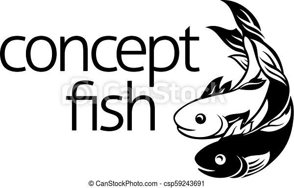 El símbolo del icono del concepto de pez - csp59243691