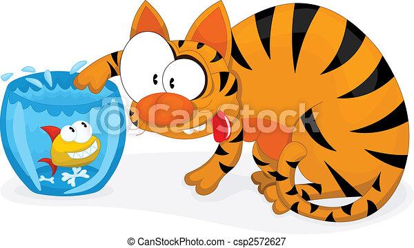 Gato y pescado - csp2572627