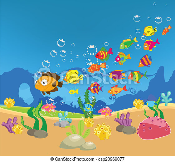 Gran familia de peces en el mar - csp20969077