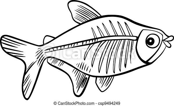 Pescado De Rayos X Para Colorear Libros Ilustración De