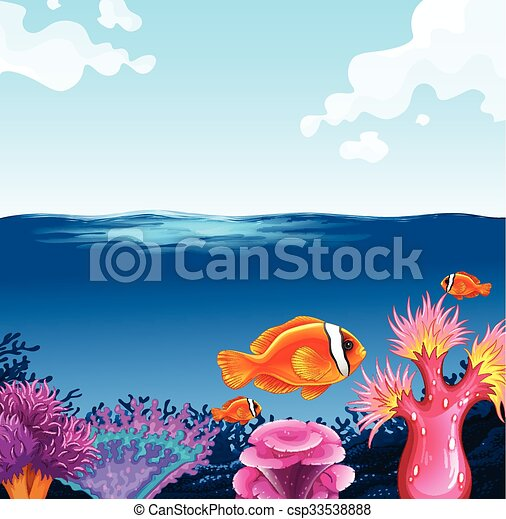 Peces nadando en el mar - csp33538888