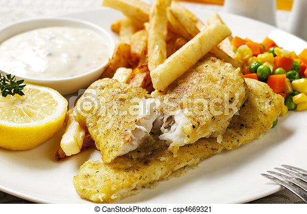 Pescado y papas fritas - csp4669321