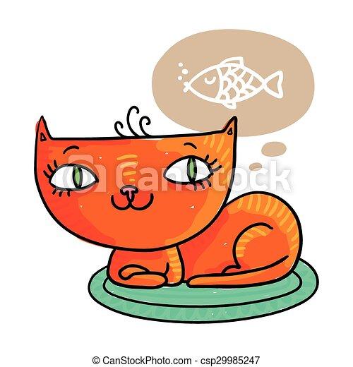 Gato rojo soñando con un pez - csp29985247