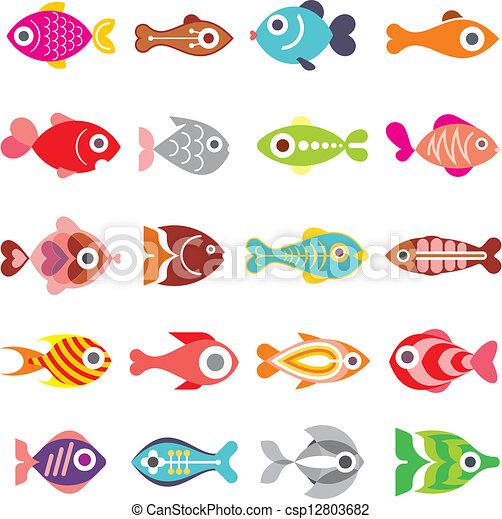 pez, vector, conjunto, icono - csp12803682