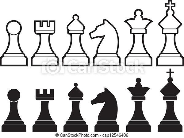 pezzi gioco scacchi - csp12546406