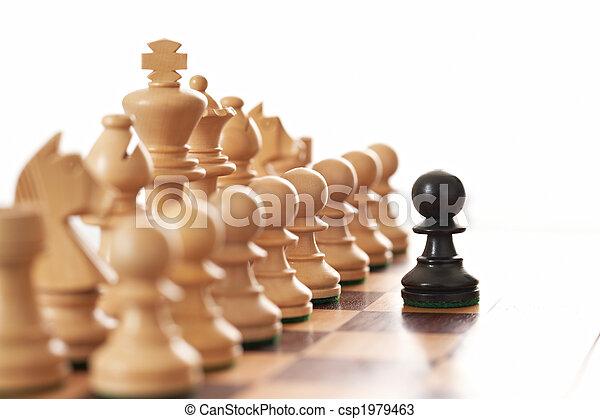 pezzi, nero, stimolante, scacchi, pegno, esercito, bianco - csp1979463