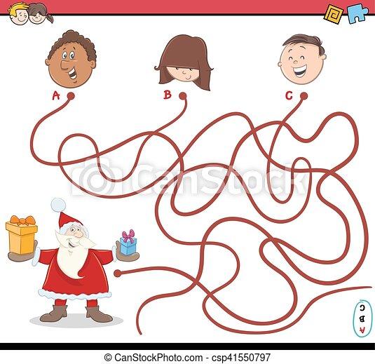 Pfad, weihnachten, labyrinth, aktivität. Pfade, kinder,... EPS ...