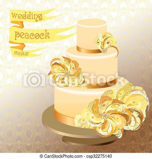 Pfau, goldenes, feathers., gelber , hochzeit kuchen, design. Pfau ...