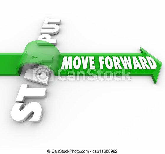 pfeil, bewegung, aufenthalt, stellen, vs, wörter, vorwärts, fortschritt, ziel - csp11688962