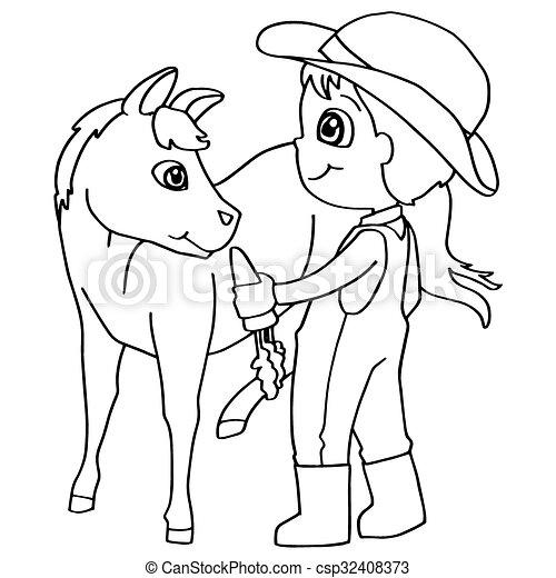 Pferd, färbung, kind, fütterung, v, buch. Färbung, pferd ...