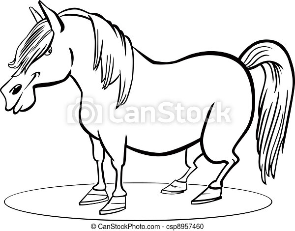 Pferd, färbung, pony, karikatur, seite. Lustiges, pferd,... Vektor ...