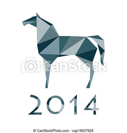pferd, polygon - csp19507624