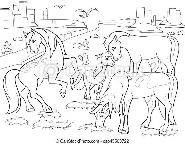 Pferden, färbung, wiese, kinder, vektor, weiden, karikatur ...