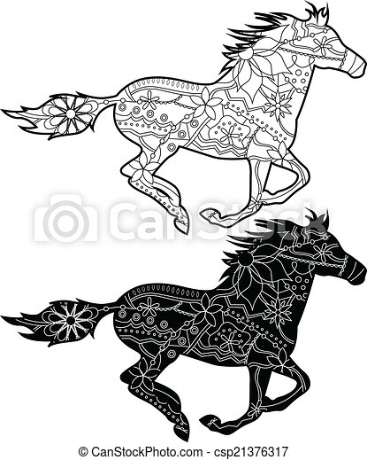Pferden Schwarz Pferden Gemalt Satz Schwarz Vektor