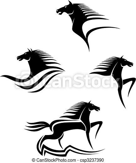 pferden, symbole, schwarz - csp3237390