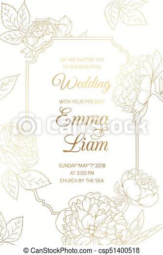 Pfingstrose Rose Rahmen Hochzeitskarten Blumen Golder Goldenes